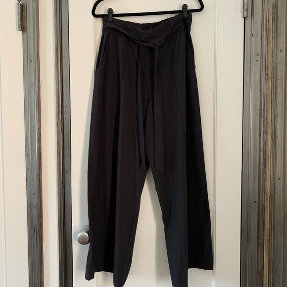 "1947a876b9 lululemon athletica Pants - Lululemon ""Noir"" Wide Leg Paper Bag Pants Hemmed"